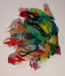 """""""Encuentro"""". Polipropileno, acrílico y tinta. 35x30 cm."""